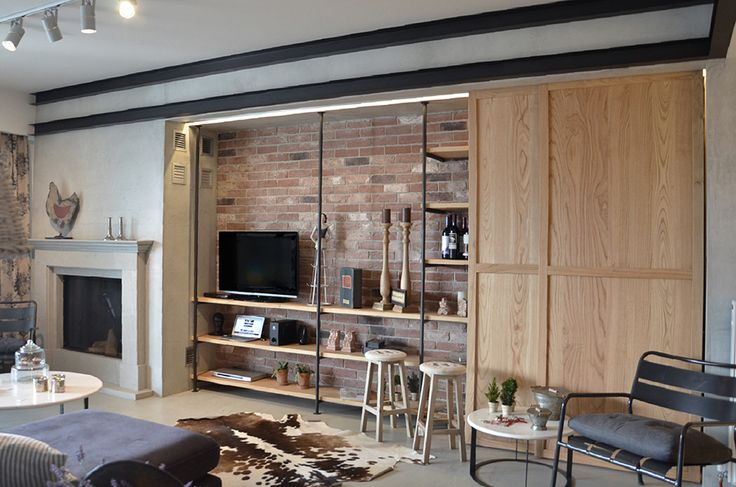 Fireplace, T.V. wall