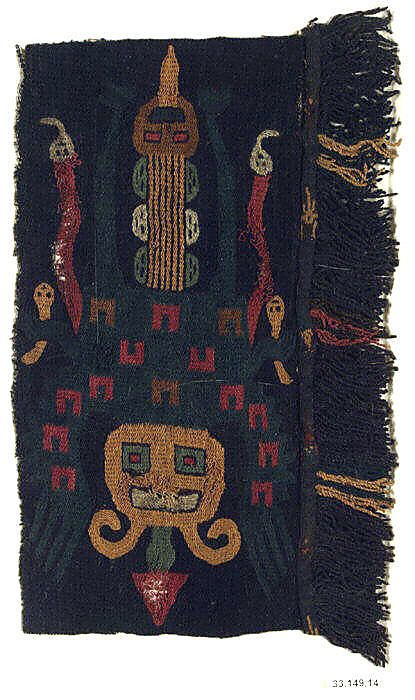 Embroidered Border Fragment Date: 4th–2nd century BCE Geography: Peru Culture: Paracas Medium: Camelid hair, cotton