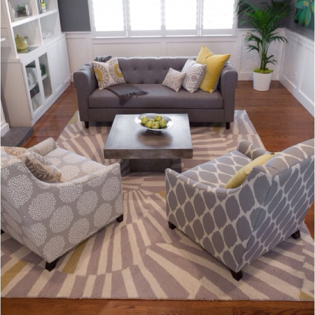 Gray and yellow: Decor Ideas, Living Rooms, Patterns, Chairs, Rooms Ideas, Colors Schemes, Grey, House, Contemporary Living