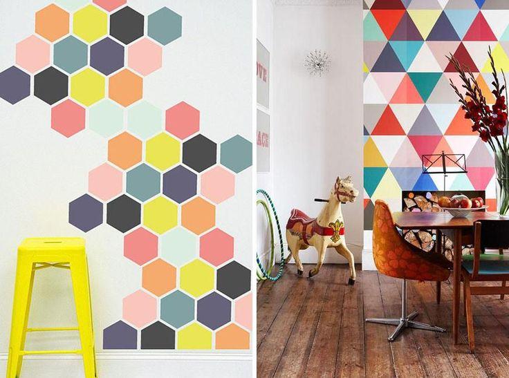 Figuras geometricas en muros wall paint hex gonos - Paredes pintadas originales ...