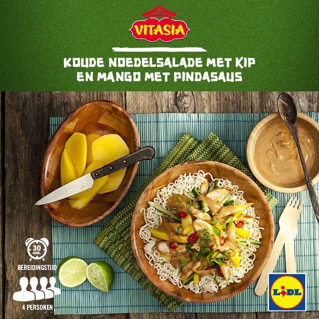 Deze koude noedelsalade met kip en mango met pindasaus is gemakkelijk zelf te bereiden! Meer Vitasia recepten ontdekken? Kijk op www.lidl.nl #Vitasia #Lidl
