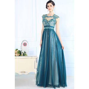 Бирюзовое выпускное платье 2015 с бисером