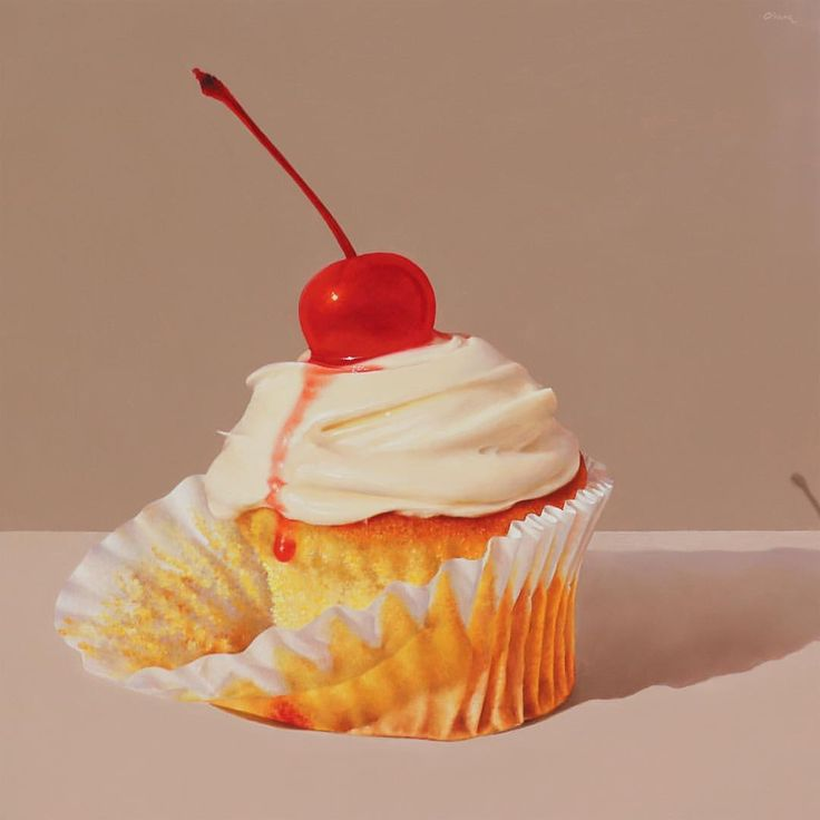 More deliciousness by @oriana_studio on Instagram: 'Cupcake with Maraschino Cherry' / oil on panel / 12x12 inches