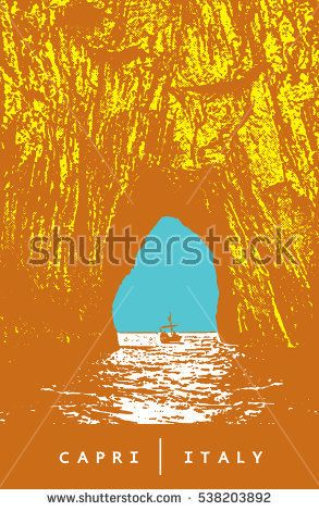 Capri, Italy. Colored vector image of the famous arch of coastal rocks Faraglioni.   Illustration in graphic style.  The vector image is the result of autotrace. It is adapted for easy use.