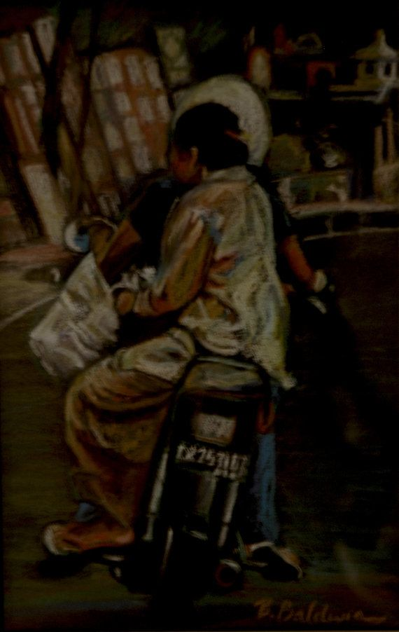 """Sketch from Bali - soft Pastel Painting Study """"Back of Motorcycle"""" - inspired by our everyday beauty in life. on Etsy, $695.00"""