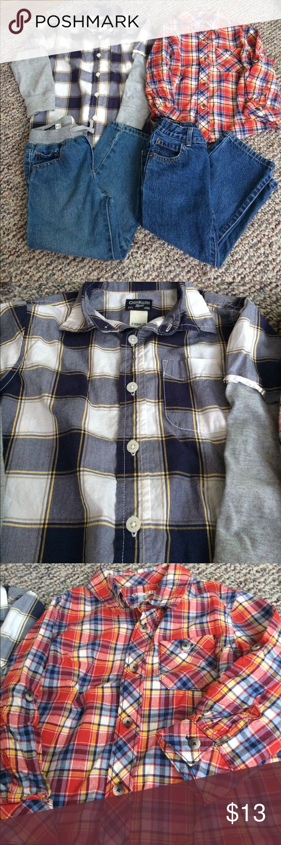 Boys 3T button up shirts and jeans Oshkosh button up shirt with gray tshirt like sleeves,  Cherokee red/blue/white/yellow plaid with rollable sleeves.          Two pair of children's place jeans- both  straight leg style, one gray stretchy waist the other adjustable normal Jean style waist. Children's Place Matching Sets
