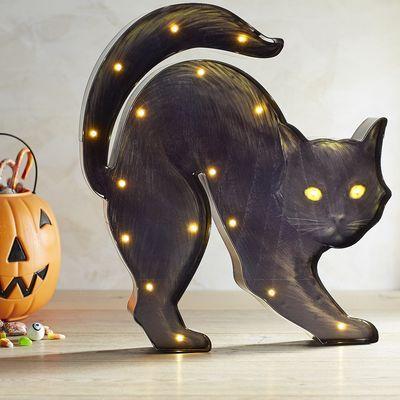 pre lit black cat decorations for halloweenhalloween - Black Cat Halloween Decorations