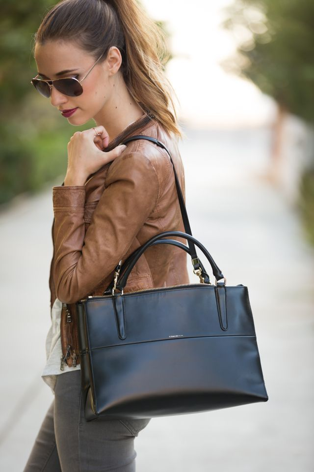 brown leather jacket with Coach Borough bag, M Loves M /marmar/ {click through for more photos and product info}