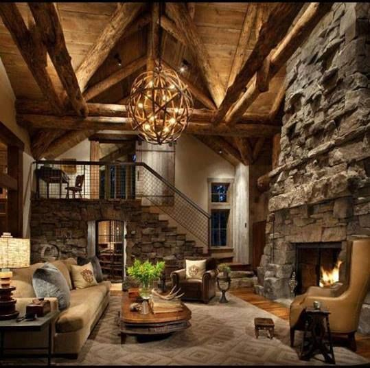 Rock Fireplaces in Log Home /  - -Bookmark  Your Local 14 day Weather FREE > http://www.weathertrends360.com/Dashboard  No Ads or Apps or Hidden Costs