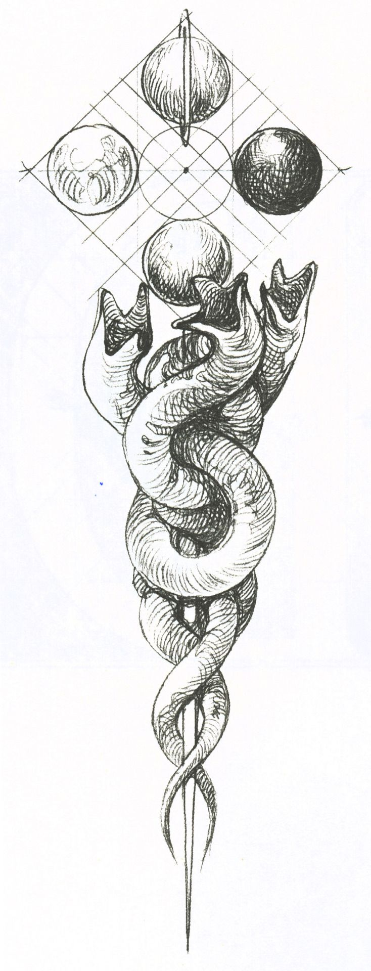 muaddibjihad: Wojtek Siudmak's symbol of the worm, from the Polish edition of Chapterhouse: Dune. Clockwise from the top the planets are Kaitain, Giedi Prime, Caladan, and Arrakis. (more images from this book coming soon)