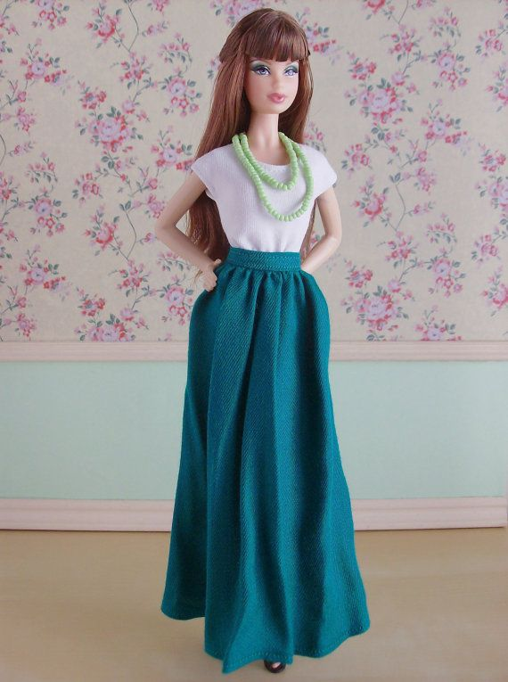 Long teal skirt for Poppy Parker / Model Muse or by SquishTish #Doll #Barbie #Model #Muse #Pivotal #Poppy #Parker #clothes #fashion #style #outfit #skirt #long #teal #emerald #SquishTish
