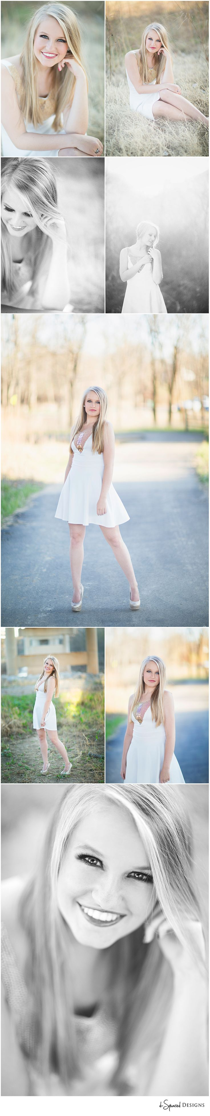 d-Squared Designs Missouri Senior Photography. Spring senior session. Senior girl photography. Senior girl posing. Pretty girl. Blonde girl. White dress. Soft images.