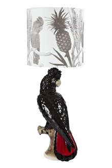 Hand painted ceramic black cockatoo lamp with hand printed linen shade