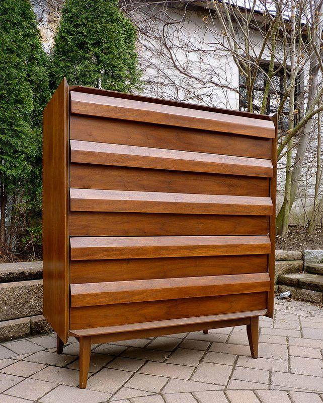 Lane Mid Century Modern First Edition Walnut Highboy Tall Dresser (U.S.A.,  1960s)