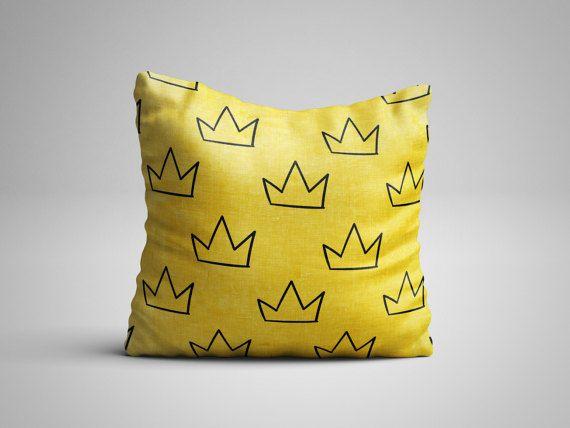 Throw Pillow - Crown Pillow - Yellow Pillow with insert - Seamless Pattern Decorative Pillow - Kids Pillow - Kids Room Decor