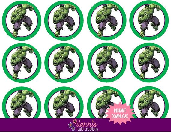 Instant download digital file super hero incredible hulk avengers 2 inch round labels birthday party favors