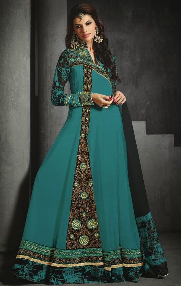 Butta Greenish Blue Color Anarkali Suit