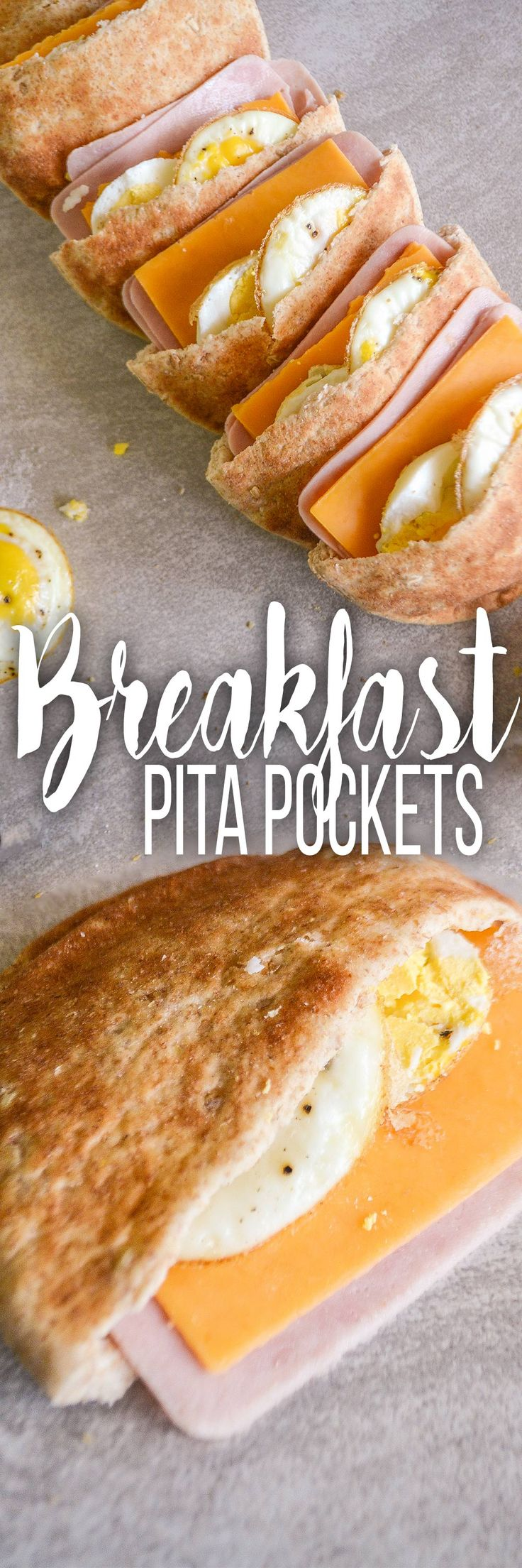 Breakfast Pita Pockets - 8 Smart Points | Stuffed with eggs, ham, and cheddar cheese. Here's an easy hot breakfast that you can quickly make for the whole week.