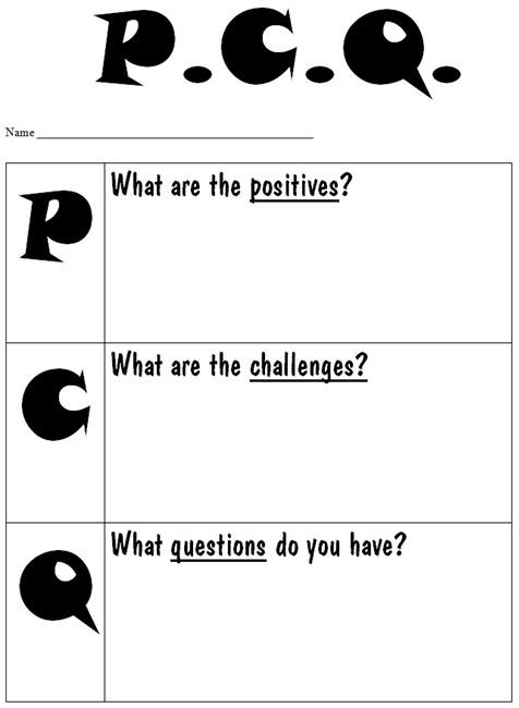PCQ Chart(word doc)  Useful for decision making and seeing different sides of an issue.. point of view / opinion unit? #decisionmaking