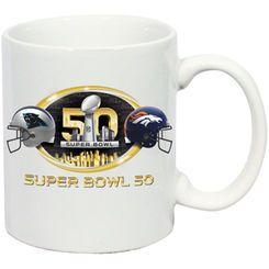 Carolina Panthers vs. Denver Broncos Super Bowl 50 Dueling 11oz. C-Handle Mug - White