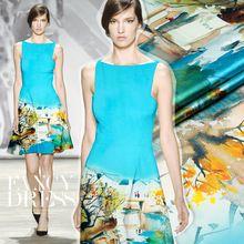118 * 120 см 19 мм 93% шелк и 7% спандекс дом печать голубое озеро атласной ткани для платья рубашки одежды(China (Mainland))