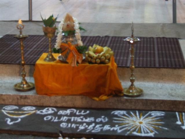 இனிய பொங்கல் வாழ்த்துக்கள் ~ Happy Thai Pongal greetings written in Tamil with wheat flour and turmeric powder     http://biocurmin.blogspot.com/2013/03/tac-dung-cua-nghe-trong-dieu-tri-viem-hang-vi-da-day.html