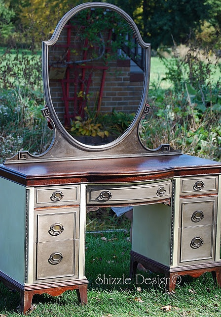 Beautiful antique lady's vanity w/ mirror and bench hand painted in Annie Sloan Chalk Paint, Top refinished in dark Walnut stain $360  i think this is just gorgeous.  love annie sloan paint finish.