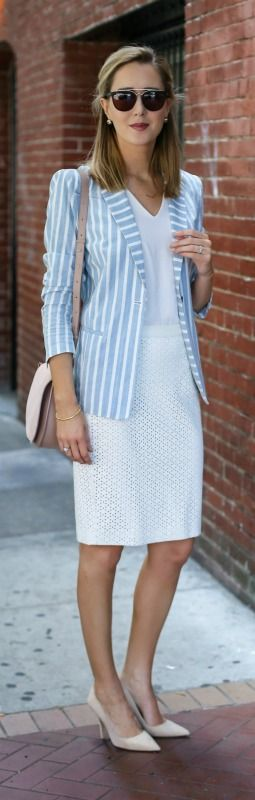 light blue and white striped blazer, ivory pencil skirt, vneck white tshirt, nude suede pointed toe pumps + nude satchel {frame, ann taylor, kate spade, dolce&gabbana}