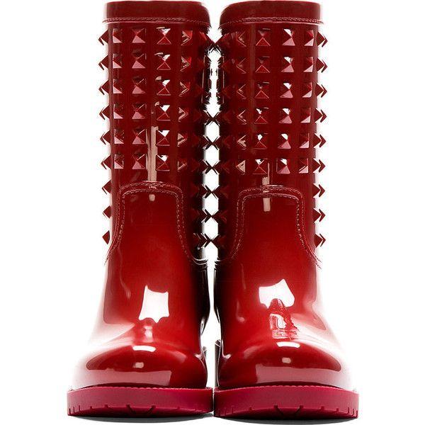 Valentino Red Patent Pvc Rockstud Rainboots