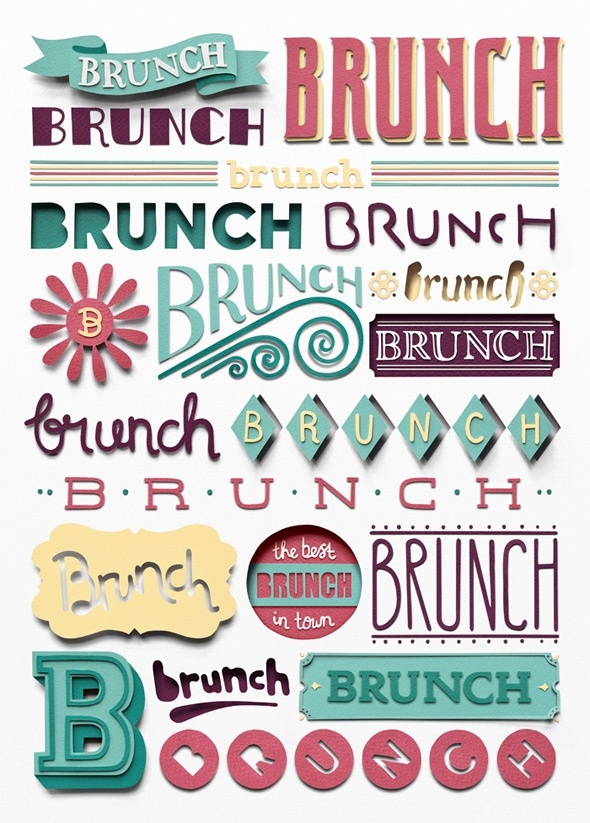 Owen GildersleeveBrunches, Illustration, Types Design, Graphics Design, Typographic Poster, Cut Out, Typography, Owens Gildersleeve, Typographic Design