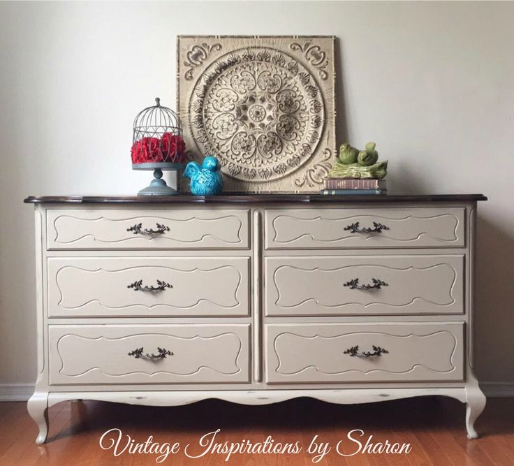 This Gibbard French Provincial Dresser was refreshed by Vintage Inspirations by Sharon located in Ottawa, Ontario using PIY Paint in the colour Oatmeal and was slightly distressed. The top was stained in a medium walnut.  Vintage Inspirations by Sharon is a user and retailer of PIY Furniture and Home Decor Paint which can be purchased online and delivered direct to your door in both Canada and the United States.