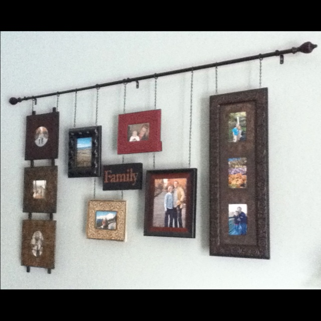 Frame Collage I Made Hang From A Curtain Rod To Save