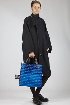 Pleats Please | shopper bag in PVC with pluriball effect, the internal in nylon and double leather handle | #pleatsplease