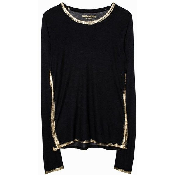 Zadig & Voltaire Willy Gold T-Shirt ($108) ❤ liked on Polyvore featuring tops, t-shirts, gold, long-sleeve, long sleeve tees, gold t shirt, gold tee, long sleeve tops and long sleeve t shirts