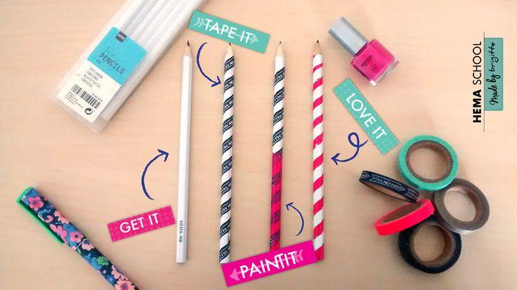 Benodigdheden: potloden, (washi)tape of plakband, verf of nagellak. How to: Omwikkel het potlood met de tape. Verf het hele potlood in een kleur. Verwijder vervolgens het tape en laat het potlood drogen.