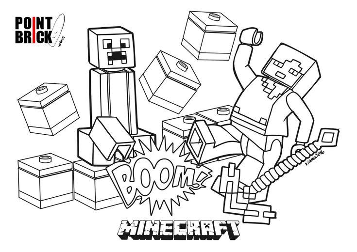 Disegni Da Colorare Lego Minecraft Alex E Creeper
