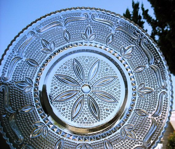 Vintage Sandwich Glass Platter, federal glass, Heritage Daisy, clear glass holiday platter, round glass cake plate, floral lace $32.00 Vintage item from the 1940s