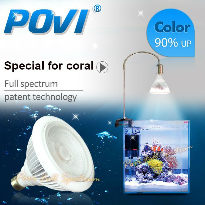 POVI Aquarium Led Lighting Full Spectrum Led Coral Reef grow light Lamp LED Bulbs E27 par30 18W
