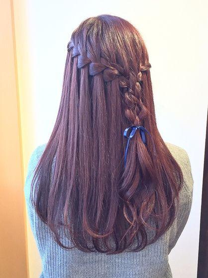 ピンクブラウンカラー ヘアセット ウォーターフォール | 志木・鶴瀬・上福岡の美容室 REPLAY HAIR DESIGNのヘアスタイル | Rasysa(らしさ)