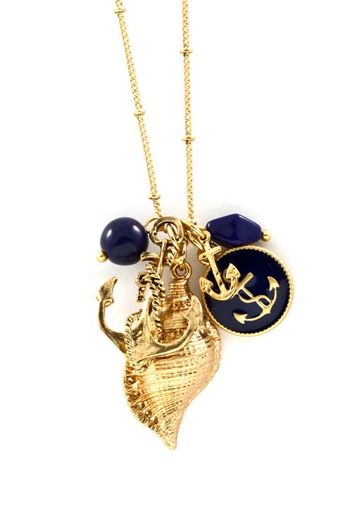 Nautical Gold Shell Necklace in Navy on Emma Stine Limited