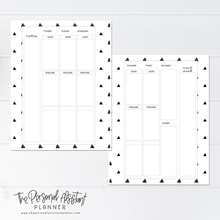 8.5x11 Monday Start Weekly Printable Planner Insert Pages - The Personal Assistant Business Planner