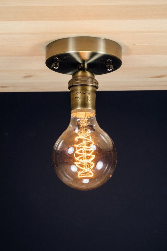 Real Brass socket Ceiling light Industrial by VintageAmpFunk