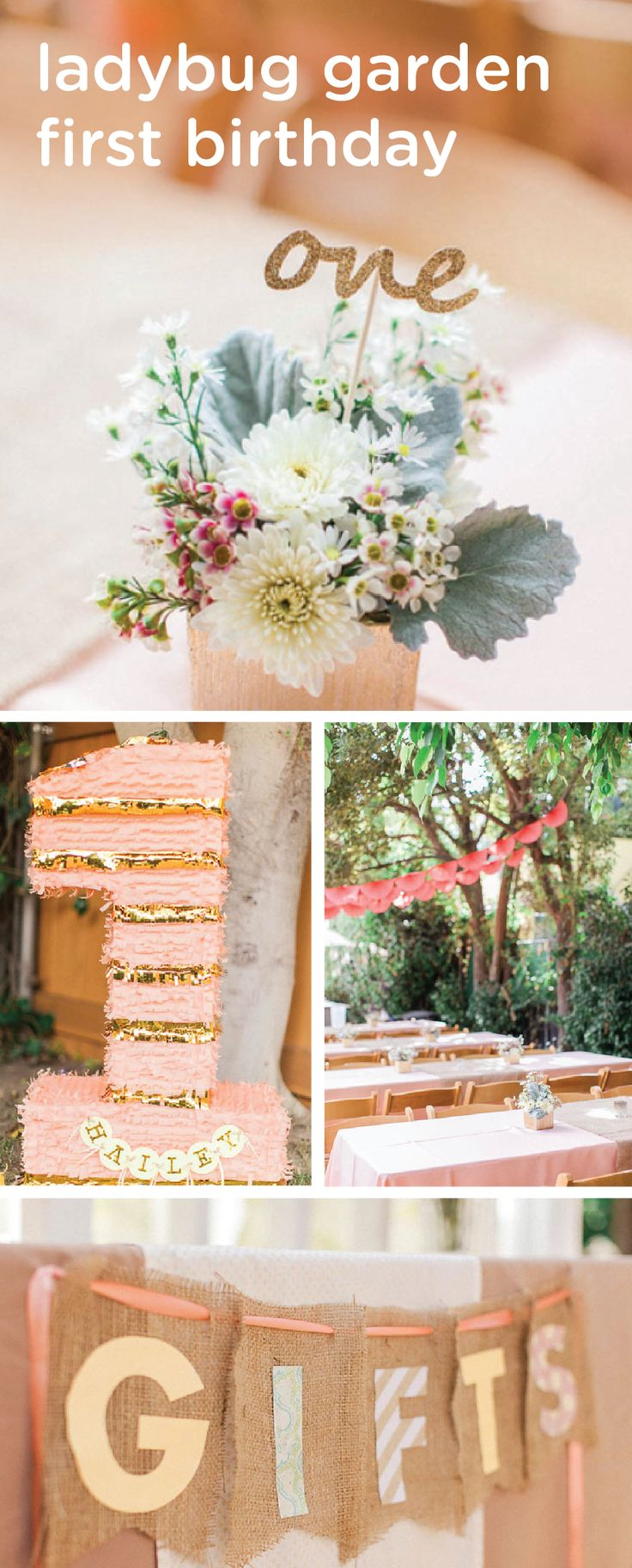 What could be cuter than a ladybug garden first birthday party? From flower centerpieces to glitter, gold and pink décor, these party ideas will help inspire you to plan the perfect first birthday party for your little girl.