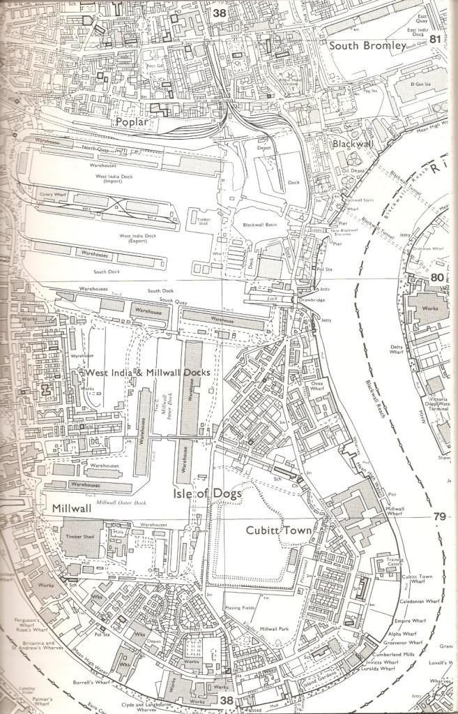 Isle of Dogs map from a 1984 GLC book, Docklands History Survey. In it the GLC listed the buildings in the Docklands area worthy of protection or conservation after the winding-up of the GLC.