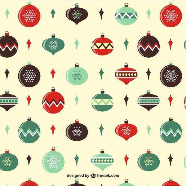 クリスマスボールをデザインしたレトロチックなベクターイラストパターン