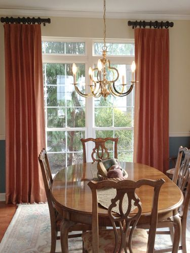 Delicious Dining Room With Custom Made Drapes