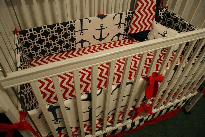 Anchor nautical Boy crib bedding nursery red white blue navy Link in bio!