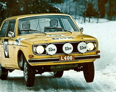 Rallying in Sweden back in the 70's. Yumping the Volvo 142.