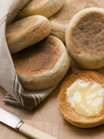 English Muffins    English muffins bear absolutely no resemblance to their American namesakes. They're not a cake, but a form of leavened bread roll, cooked on a griddle.
