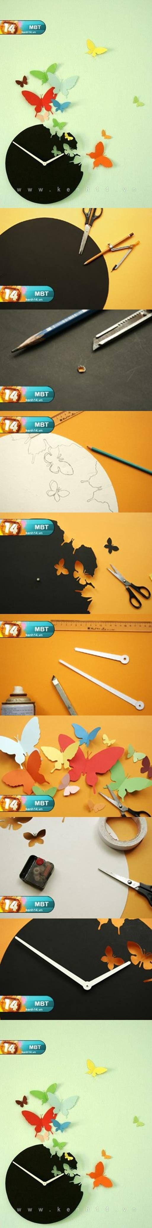 Horloge envol de papillons - Tuto / DIY